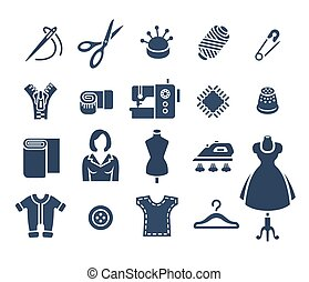 Sewing tools flat vector silhouette icons - Sewing icons...