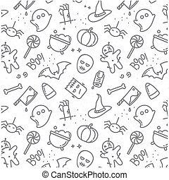 Halloween flat pattern - Halloween gray pattern drawing in...