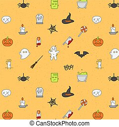 Halloween flat pattern soft color - Halloween color pattern...