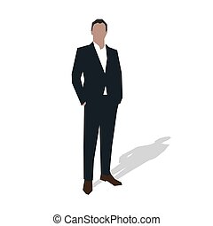 Businessman in suit standing with hands in pockets. Young...