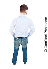back view of Business man  looks.