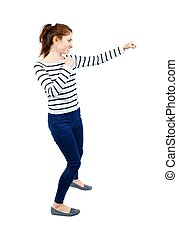 back view of woman funny fights waving his arms and legs.