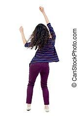 back view of dancing young beautiful woman. girl watching. -...