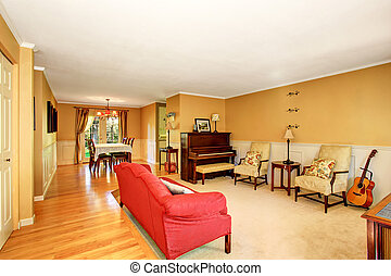 Living room interior with vintage furniture, antique piano....