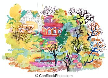 Felt-tip pen autumn rural landscape - Felt-tip pen autumn...