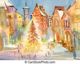 Christmas holiday city center. Watercolor illustration. -...