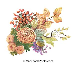 Watercolor autumn background with dogwood and flowers with...