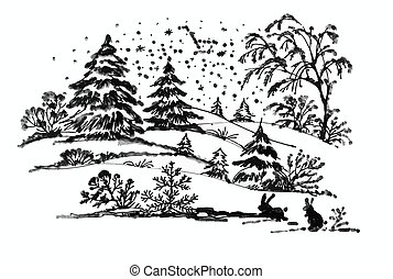 Watercolor winter Coniferous forest landscape with rabbits,...