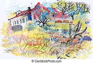 Felt-tip pen autumn rural landscape. - Felt-tip pen autumn...