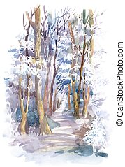 Watercolor winter forest with trees.