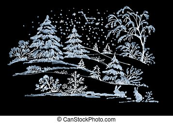 Watercolor winter Coniferous forest landscape with rabbits....