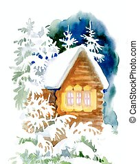 Watercolor winter landscape with snowy houses illustration.