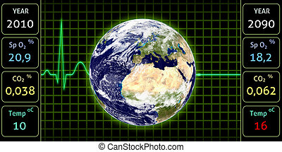 Global healthcare - An Illustration of an ECG monitor,...