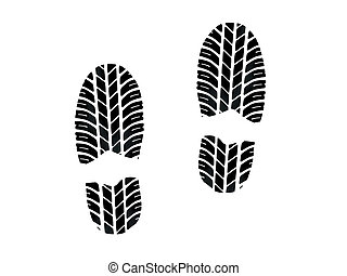 Footprint with tires tread isolated on white background