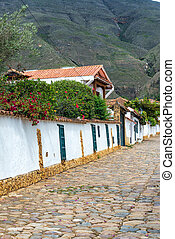 Cobblestone and Colonial Architecture - Cobblestone street...