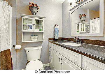 cuarto de baño, gabinetes, cima, mostrador, pequeño,...