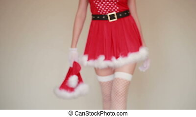 Sexy Santa Girl caresses herself. sex games - Sexy Santa...