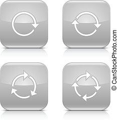 Gray arrow refresh, reload, rotation, repeat icon