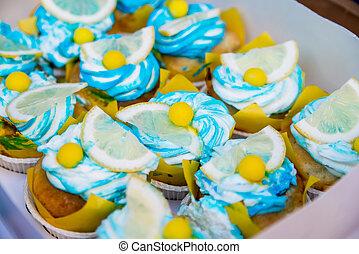 Beautiful fruit cakes - Beautiful tasty cake with lemon on...