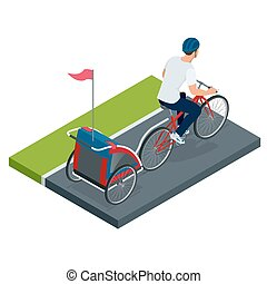 Isometric Bicycle with Kids Bike Trailer.