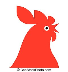 red rooster Mascot - red rooster isolated on white...
