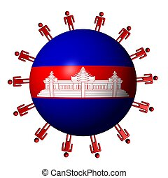 circle of abstract people around Cambodia flag sphere illustration