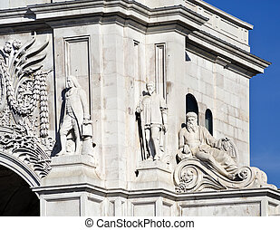 Lisbon Rua Augusta Triumphal Arch - Detail of the statues of...