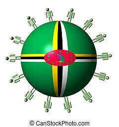 circle of abstract people around Dominica flag sphere illustration
