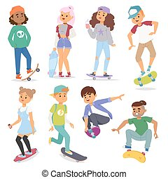 Skateboard characters vector illustration
