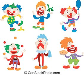 Clown character vector cartoon illustrations - Set of clown...