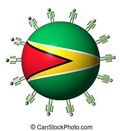 circle of abstract people around Guyana flag sphere illustration