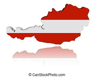 Austria map flag 3d render with reflection illustration