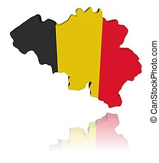 Belgium map flag 3d render with reflection illustration