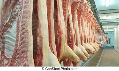 pork carcasses hanging on hooks in a meat factory.