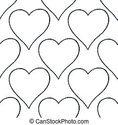 Seamless pattern with outline heart sign with black line...