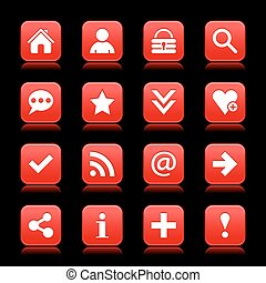 Red satin icon web button with white basic sign