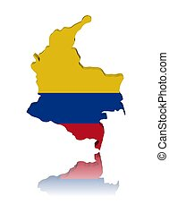 Colombia map flag 3d render with reflection illustration