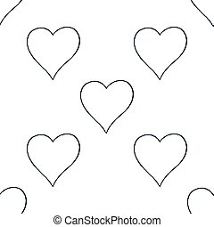 Seamless pattern with outline heart sign
