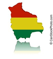 Bolivia map flag 3d render with reflection illustration