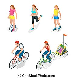 Isometric Bicycle. Family Cyclists. Roller Skating girl....