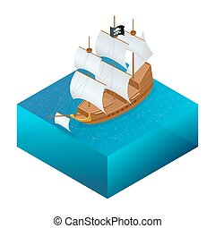 Isometric Pirate Ship with Jolly Roger on water.