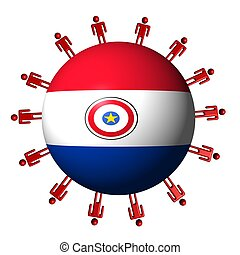 circle of abstract people around Paraguay flag sphere illustration