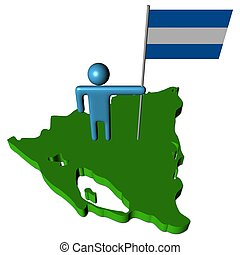 abstract person with flag on Nicaragua map illustration