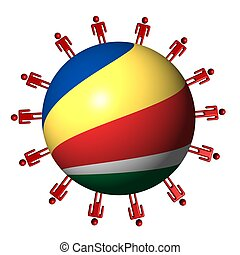 circle of abstract people around Seychelles flag sphere illustration