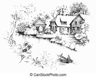 Early spring landscape - Black and white sketch of village...