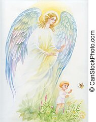 Beautiful angel with wings flying over child.