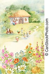 Watercolor countryside landscape with little boy feeding farm animals.