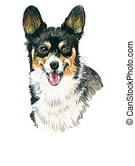 Puppy dog hand drawn illustration sketch. - Puppy dog hand...
