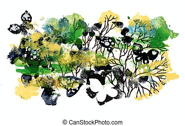 Colorful summer pattern with butterflies abstract background.