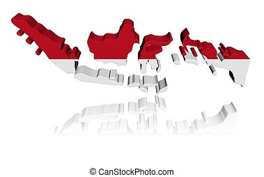 Indonesia map flag 3d render with reflection illustration